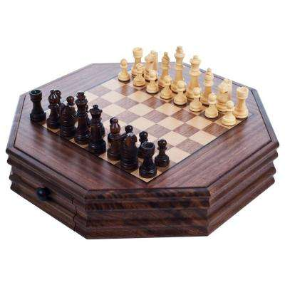 Octagonal Table Top Chess and Checkers Set