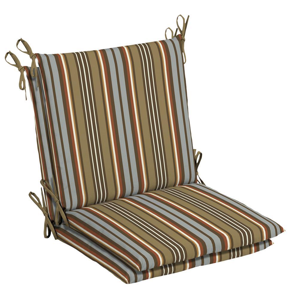 Bon Hampton Bay 20 X 17 Outdoor Dining Chair Cushion In Olefin Southwest Toffee  Stripe (2