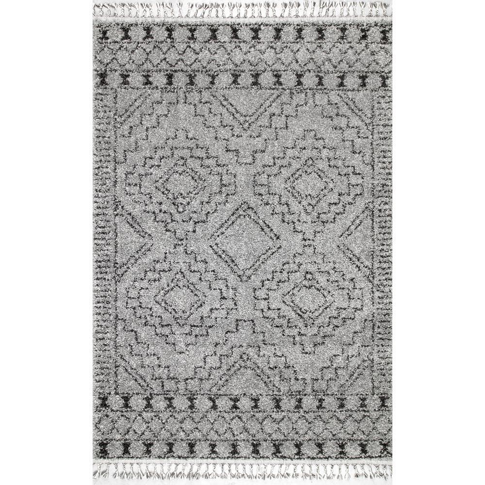 Vasiliki Moroccan Tassel Shag Gray 8 ft. x 10 ft. Oval Rug
