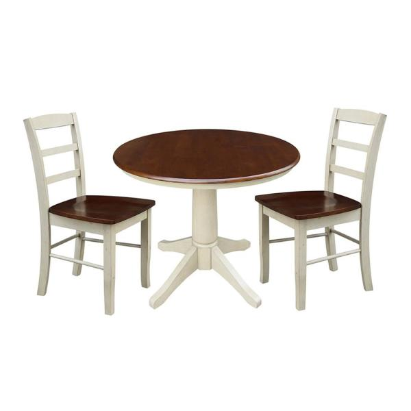 International Concepts Olivia 3-Piece Almond and Espresso Dining Set with 36