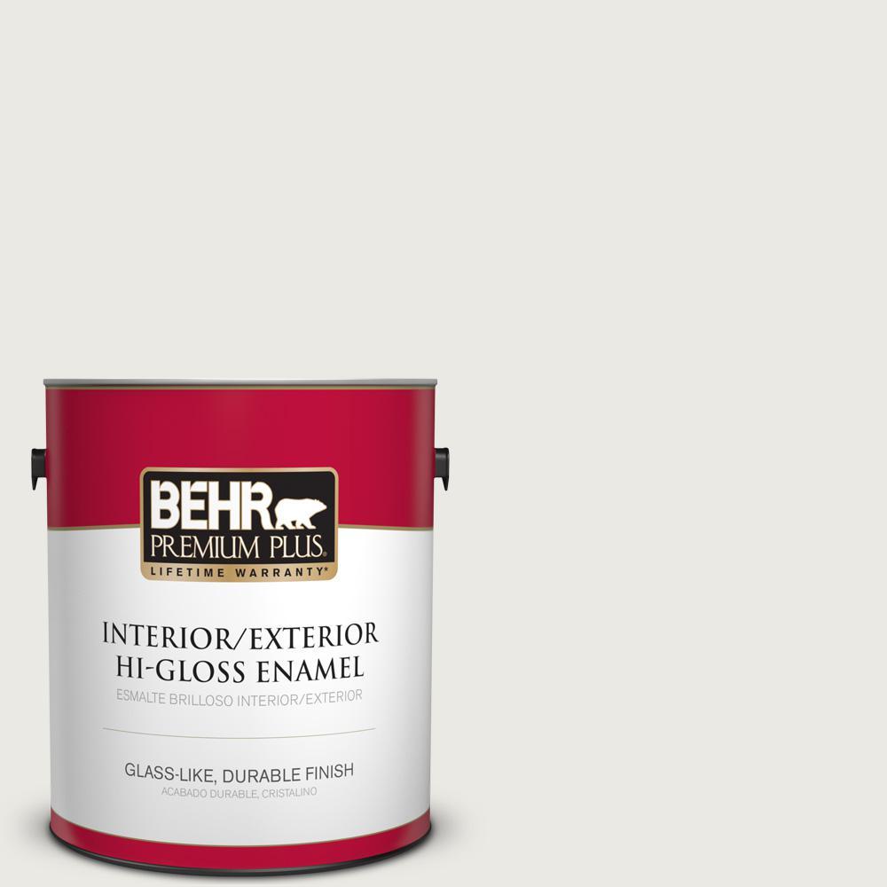 BEHR Premium Plus 1 gal. #PPU24-14 White Moderne Hi-Gloss Enamel ...