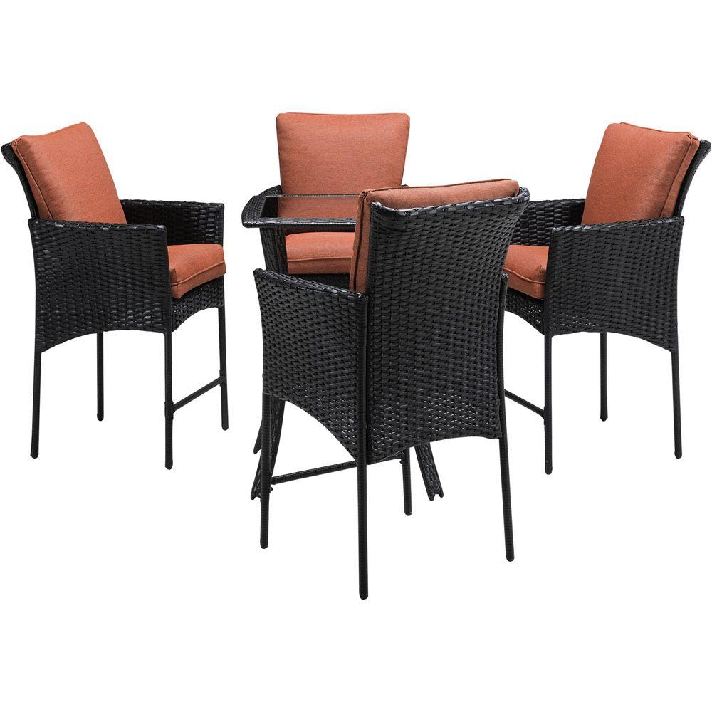 hanover strathmere allure 5 piece all weather wicker square patio bar height dining set with. Black Bedroom Furniture Sets. Home Design Ideas