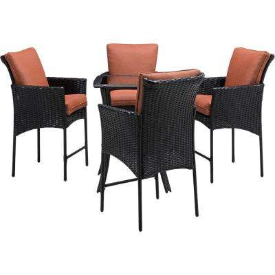 Strathmere Allure 5-Piece All-Weather Wicker Square Patio Bar Height Dining Set with Woodland Rust Cushions