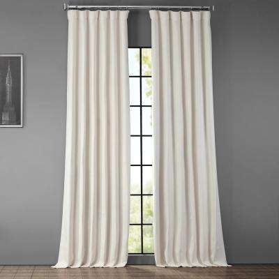 Birch Ivory Faux Linen Blackout Curtain - 50 in. W x 108 in. L