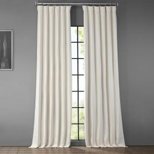 Birch Ivory Faux Linen Blackout Curtain - 50 in. W x 96 in. L