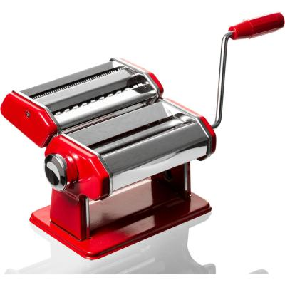 Red Stainless Steel Hand Operated Pasta Machine