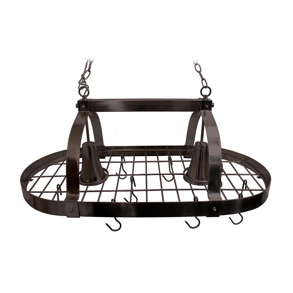 Elegant Designs 2 Light Oil Rubbed Bronze Kitchen Pot Rack With Hooks