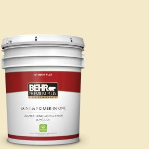 Behr Premium Plus 5 Gal P350 2 May Apple Flat Low Odor Interior Paint And Primer In One 105005 The Home Depot