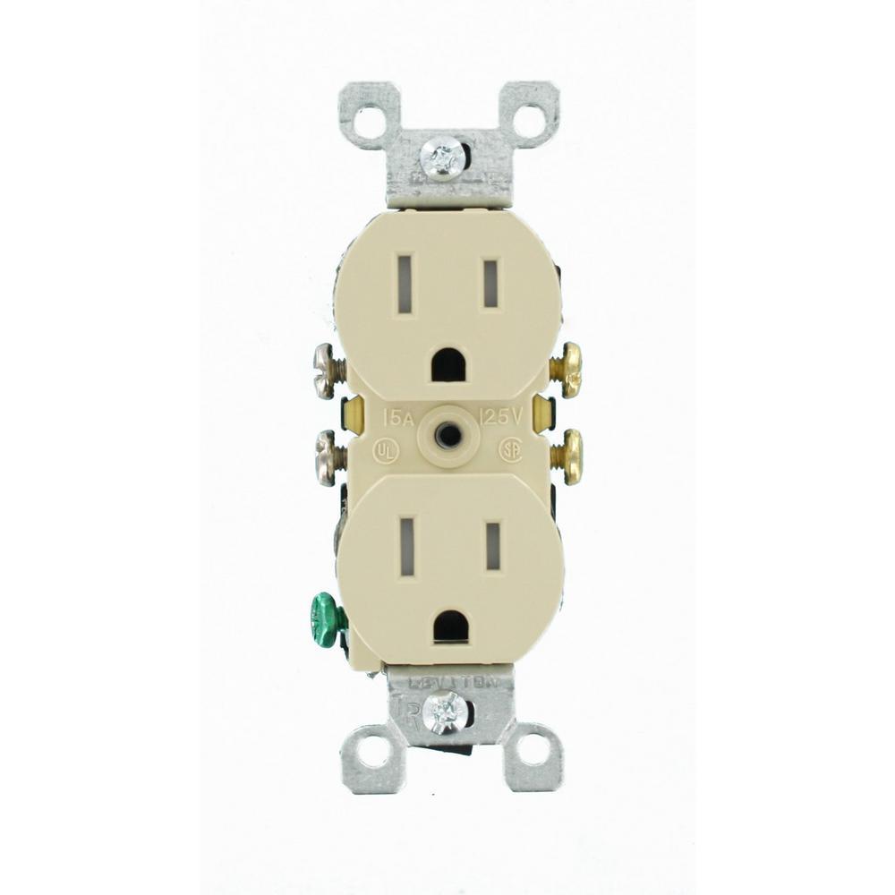 Leviton 15 Amp Tamper Resistant Duplex Outlet, Ivory