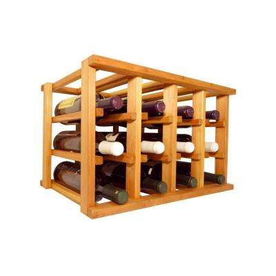Mini Stack Series-12 Bottle Individual Light Stain Wine Rack 11-15/16 in. H x 18-11/16 in. W x 13-1/2 in. D