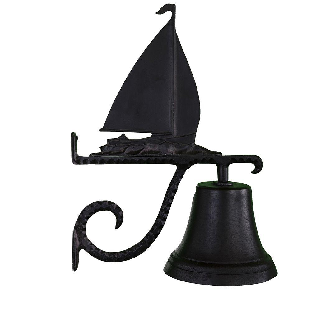 Cast Bell with Black Sailboat Ornament