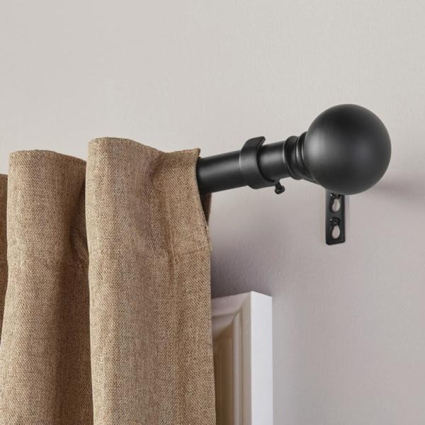 Home D Mix Match 1 in Ball Curtain Rod Finial in Matte Black 2-Pack
