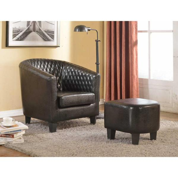 Terrific Isabella Black Faux Leather Arm Chair With Ottoman Ncnpc Chair Design For Home Ncnpcorg