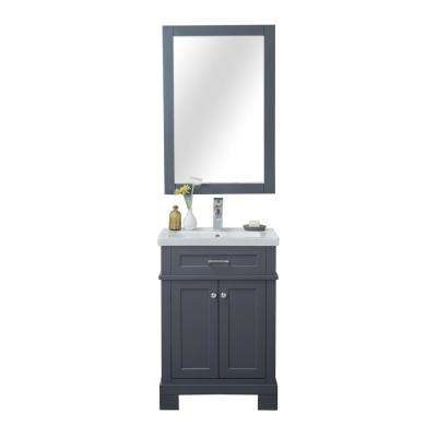 Tacoma 24 in. W x 18.25 in. D x 34.75 in. H Vanity in Gray with Porcelain Vanity Top in White with White Basin