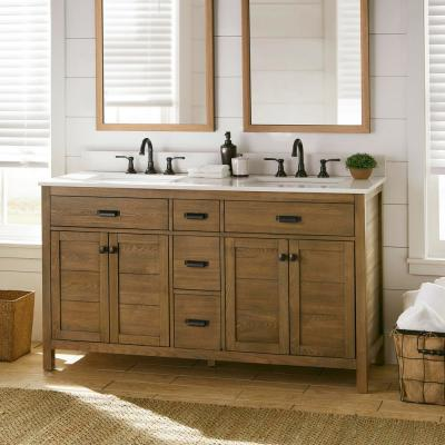 Stanhope 61 in. W x 22 in. D Vanity in Reclaimed Oak with Engineered Stone Vanity Top in Crystal White with White Sink