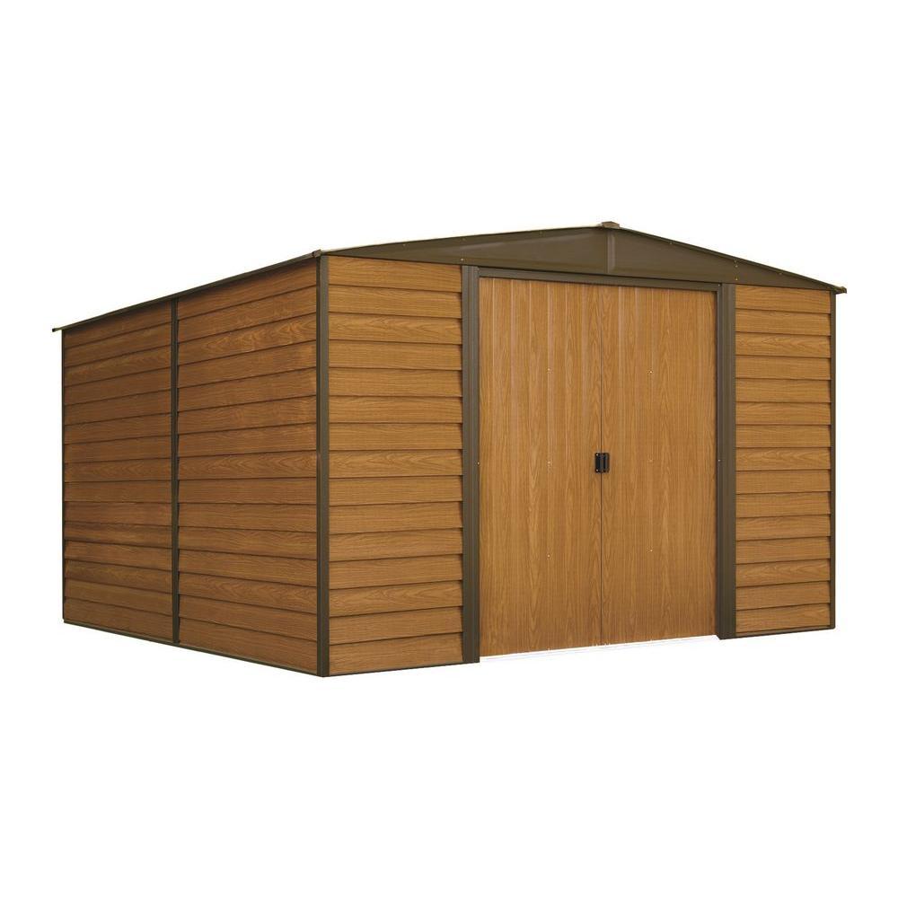 Arrow Woodridge 10 ft. W x 12 ft. D Wood-grain Galvanized Metal Storage Building