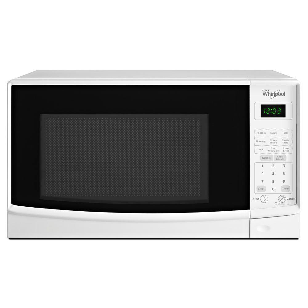 Whirlpool 0 7 Cu Ft Countertop Microwave In White Wmc10007aw The Home Depot