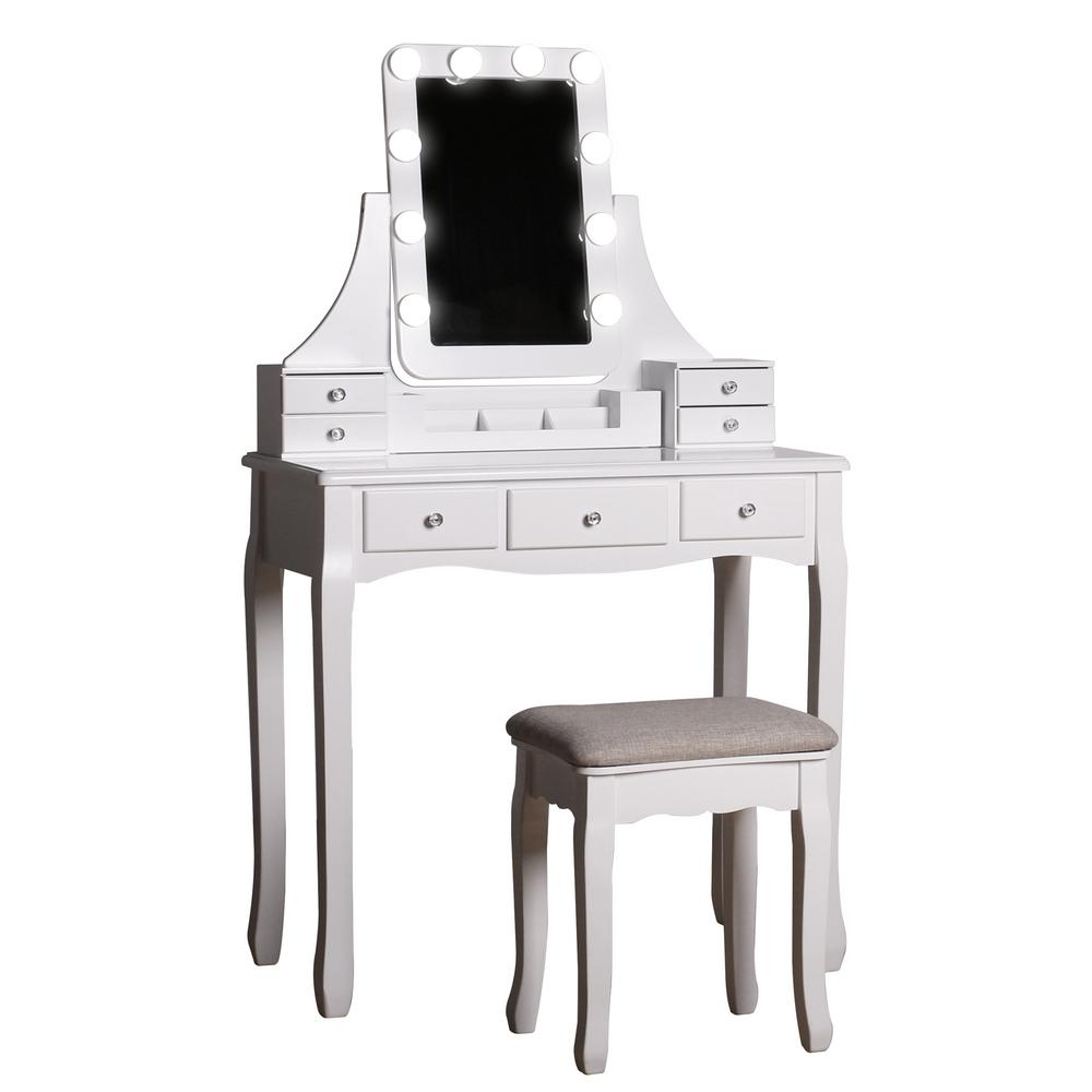 Modern White Wooden Vanity Makeup Table Sets With Rectangle Led Light Mirror And Stool Szt008 The Home Depot