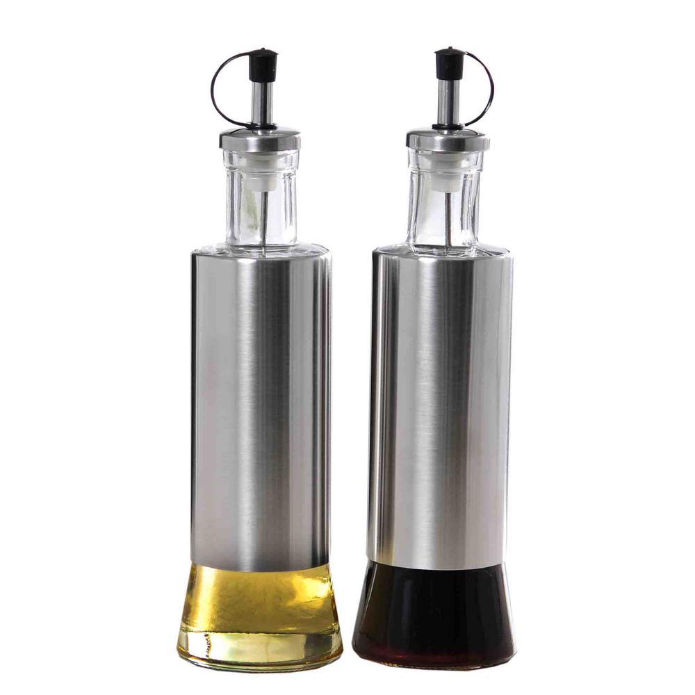 Home Basics Stainless Steel Oil And Vinegar Dispensing Bottle Set