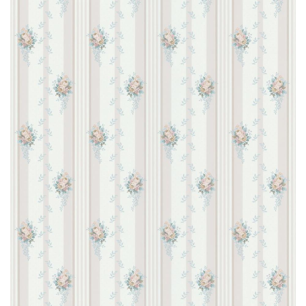 Cameo Rose IV Blue Carlucca Wallpaper Sample