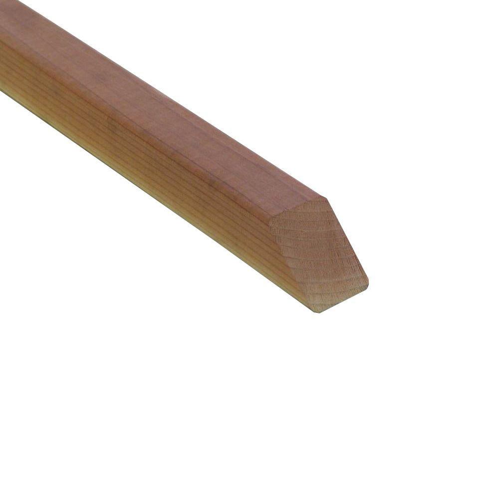 2 in. x 2 in. x 36 in. Redwood Bevel 2-End