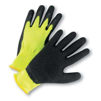 Large Hi Vis Lime Latex Palm Coated Knit Dozen Pair Gloves