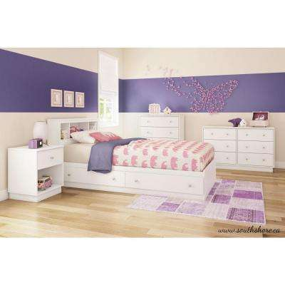 Litchi 1-Drawer Pure White Nightstand