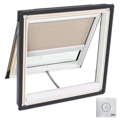 30-1/16 in. x 30 in. Solar Powered Venting Deck-Mount Skylight w/ Laminated Low-E3 Glass and Beige Room Darkening Blind