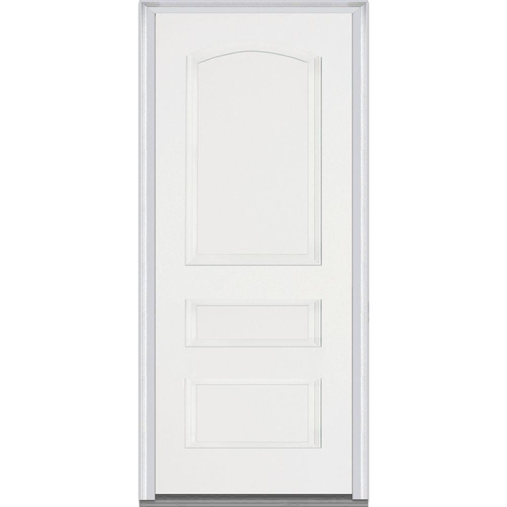 Mmi door 36 in x 80 in severe weather left hand outswing 3 panel primed fiberglass smooth 36 x 80 outswing exterior door