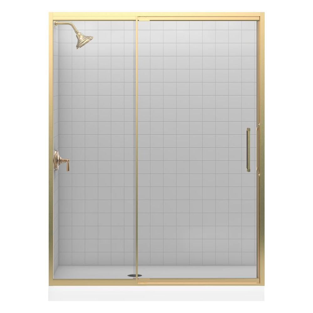 KOHLER Lattis 60 in. x 76 in. Framed Pivot Shower Door in Anodized Brushed Bronze with Handle