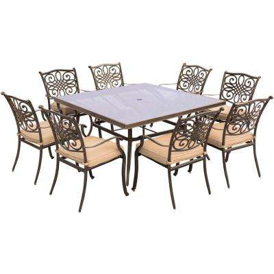 Traditions 9-Piece Aluminum Outdoor Dining Set with Square Glass-Top Table with Natural Oat Cushions