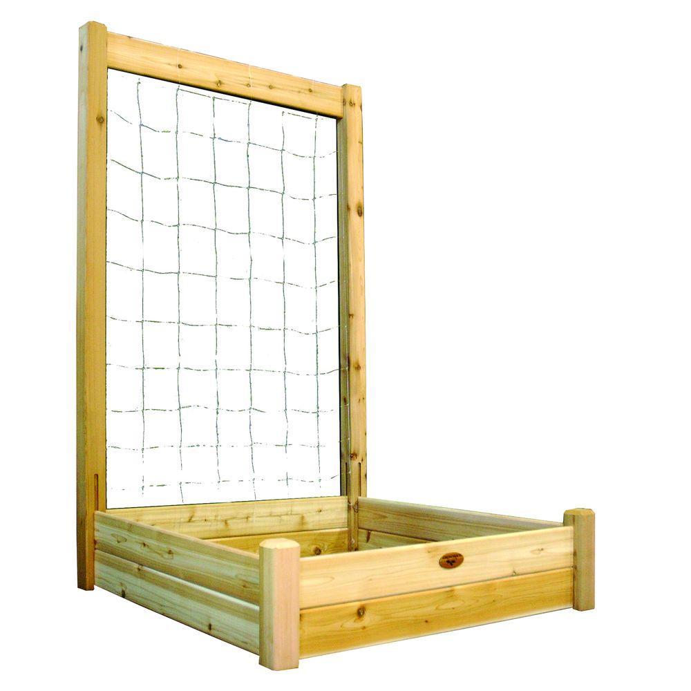 48 in. x 48 in. x 13 in. Raised Garden Bed with 48 in. W x 80 in. H Trellis Kit