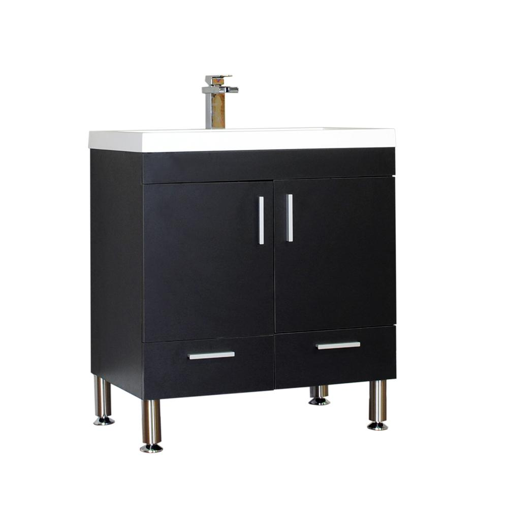 The Modern 29.375 in. W x 18.75 in. D Bath Vanity in Black with Acrylic Vanity Top in White with White Basin