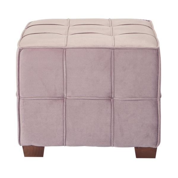 Ave Six Sheldon Mauve Fabric With Coffee Wooden Legs Tufted Ottoman