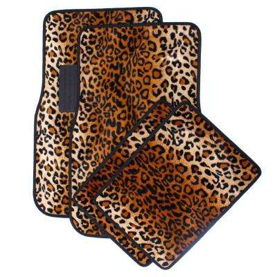 Leopard Beige 4-Piece Heavy-Duty 26.5 in. x 17.25 in. Rubber Floor Mats