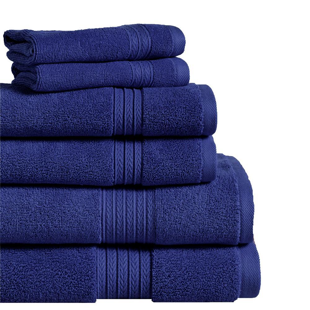 Summit 6-Piece Navy 100% Cotton Bath Towel Set