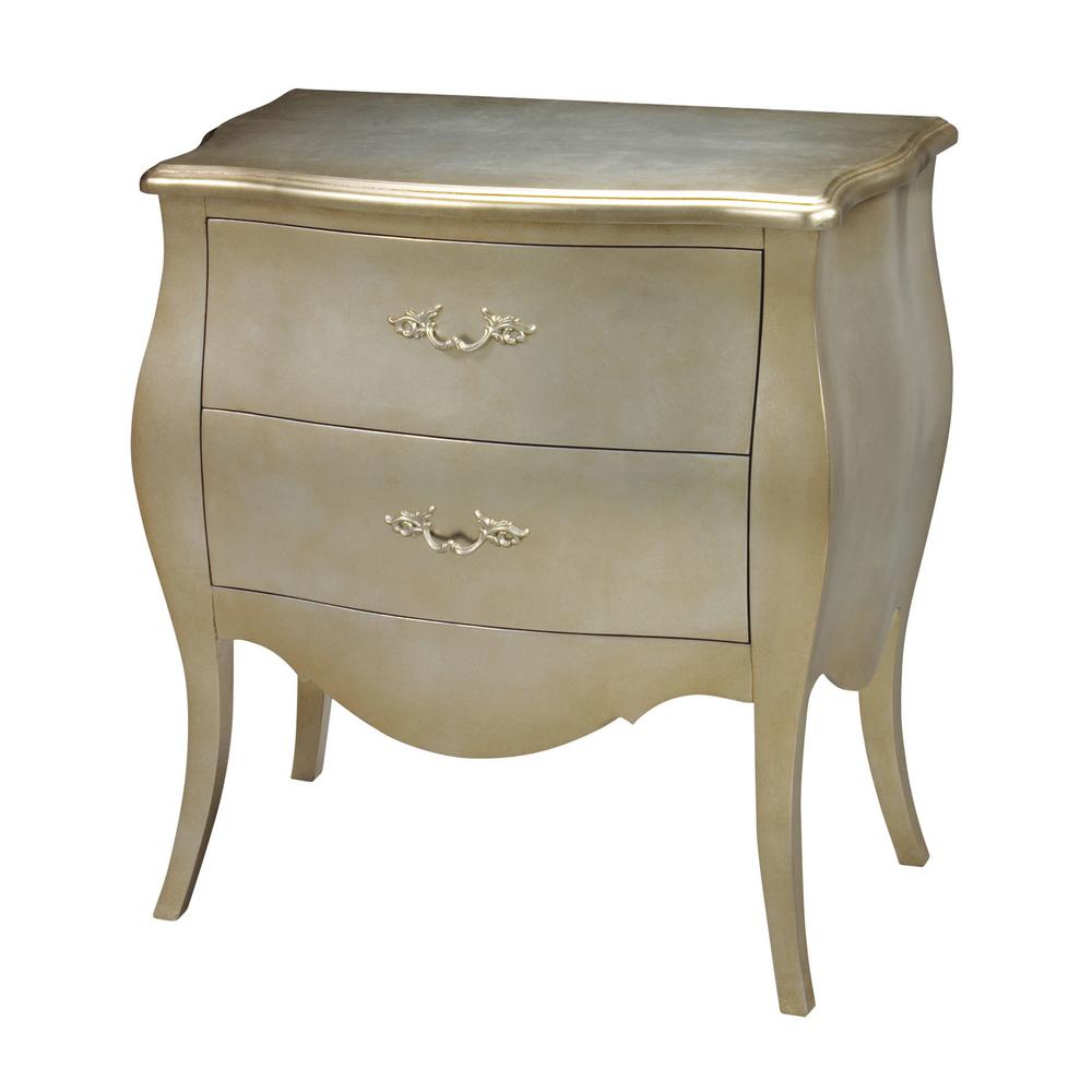 romana 2drawer silver and champagne chest