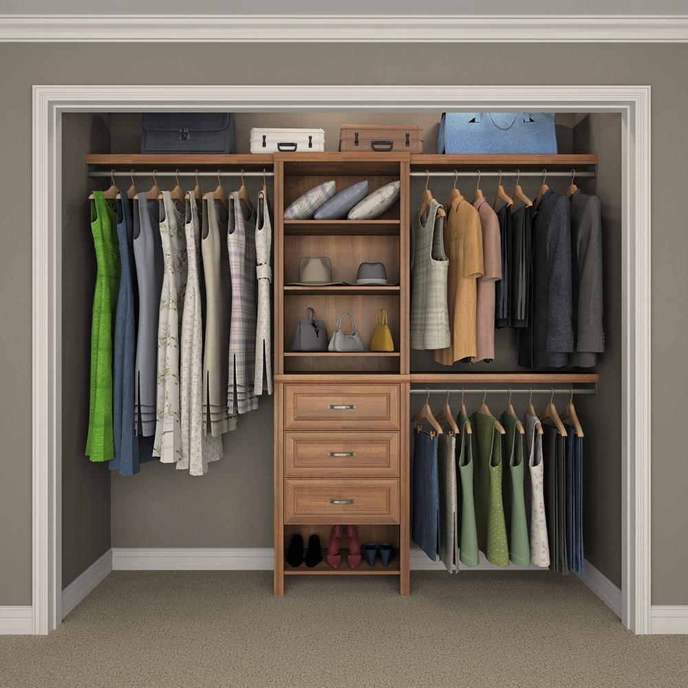 """Impressions Basic Plus 60"""" W - 120"""" W Walnut Wood Closet System"""