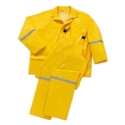 2X-Large Yellow 3-Piece PVC Polyester Rain Suit