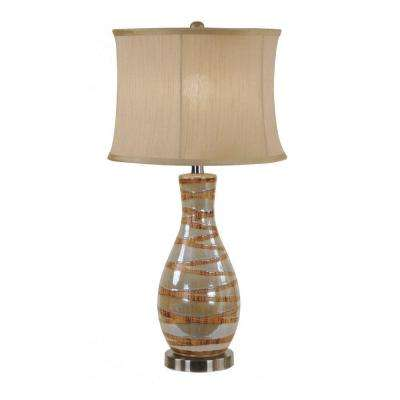 27 in. Tarragon Green and Cathay Ceramic Table Lamp