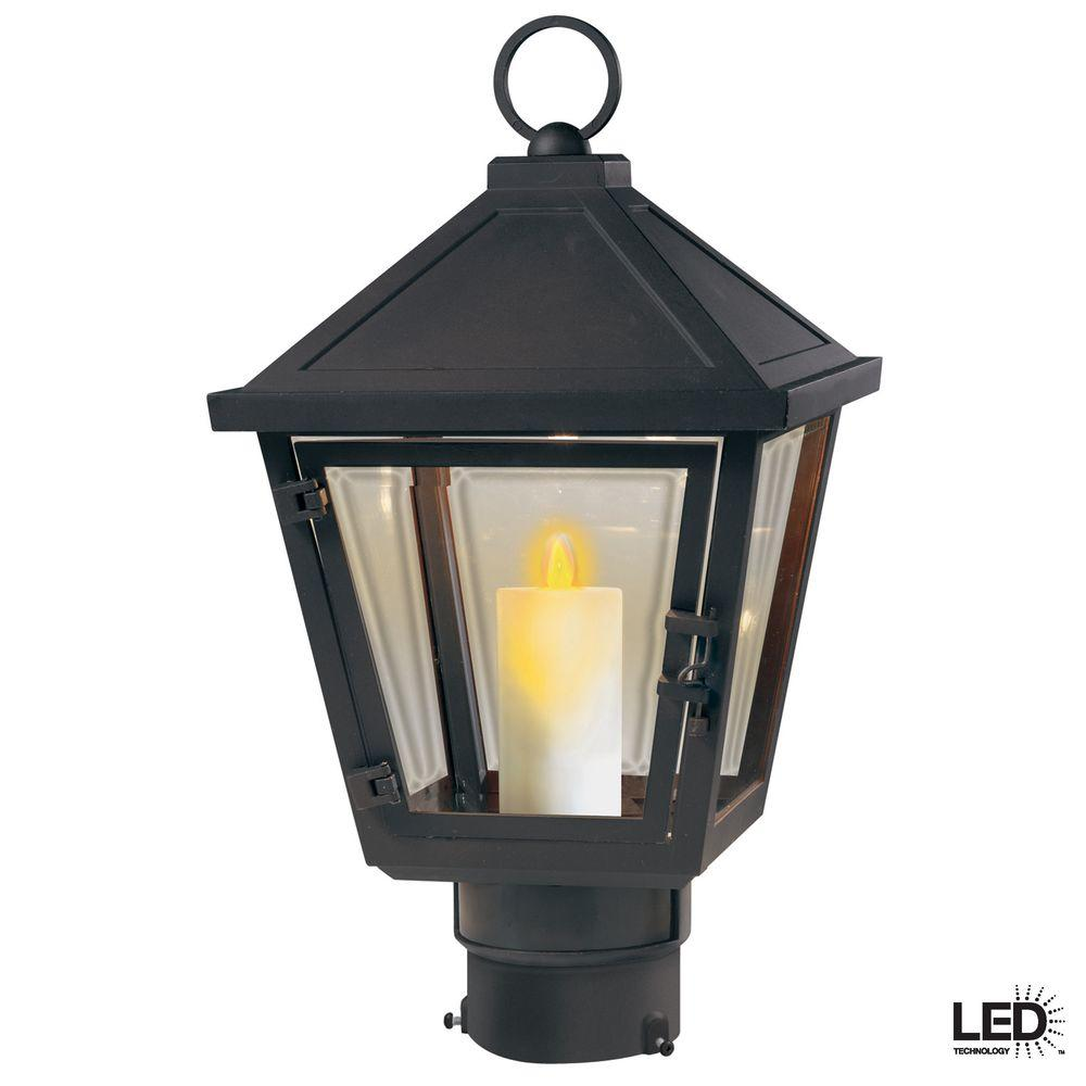 Hampton Bay Beauregard Wall-Mount Outdoor Seville Bronze LED Post Top Lantern with Motion Detection Faux Flame