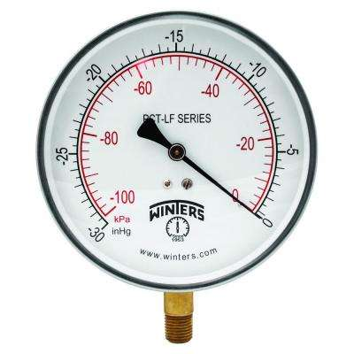 PCT-LF Series 4.5 in. Lead-Free Brass Stainless Steel Pressure Gauge with 1/4 in. NPT LM and 0-30 in. VAC/kPa