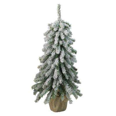 18 in. Unlit Flocked Downswept Mini Village Pine Artificial Christmas Tree in Burlap Base