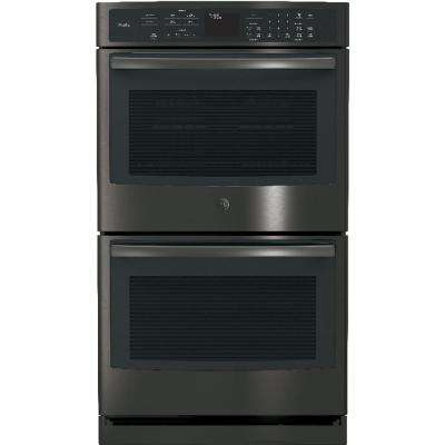30 in. Double Electric Wall Oven Self-Cleaning with Convection in Black Stainless Steel