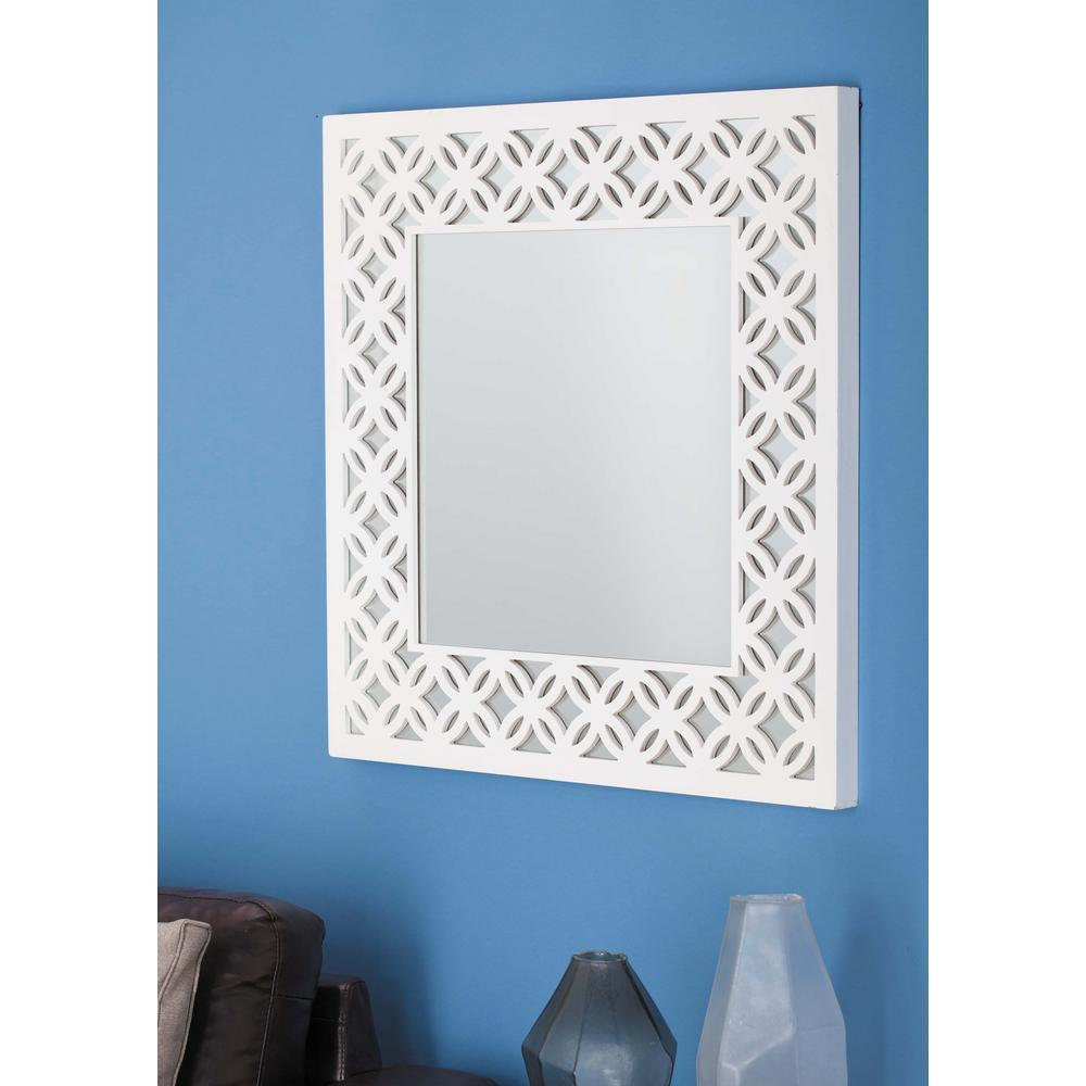 22 in x 34 in wooden white wall mirror with photo frames and white lattice wooden wall mirror amipublicfo Images