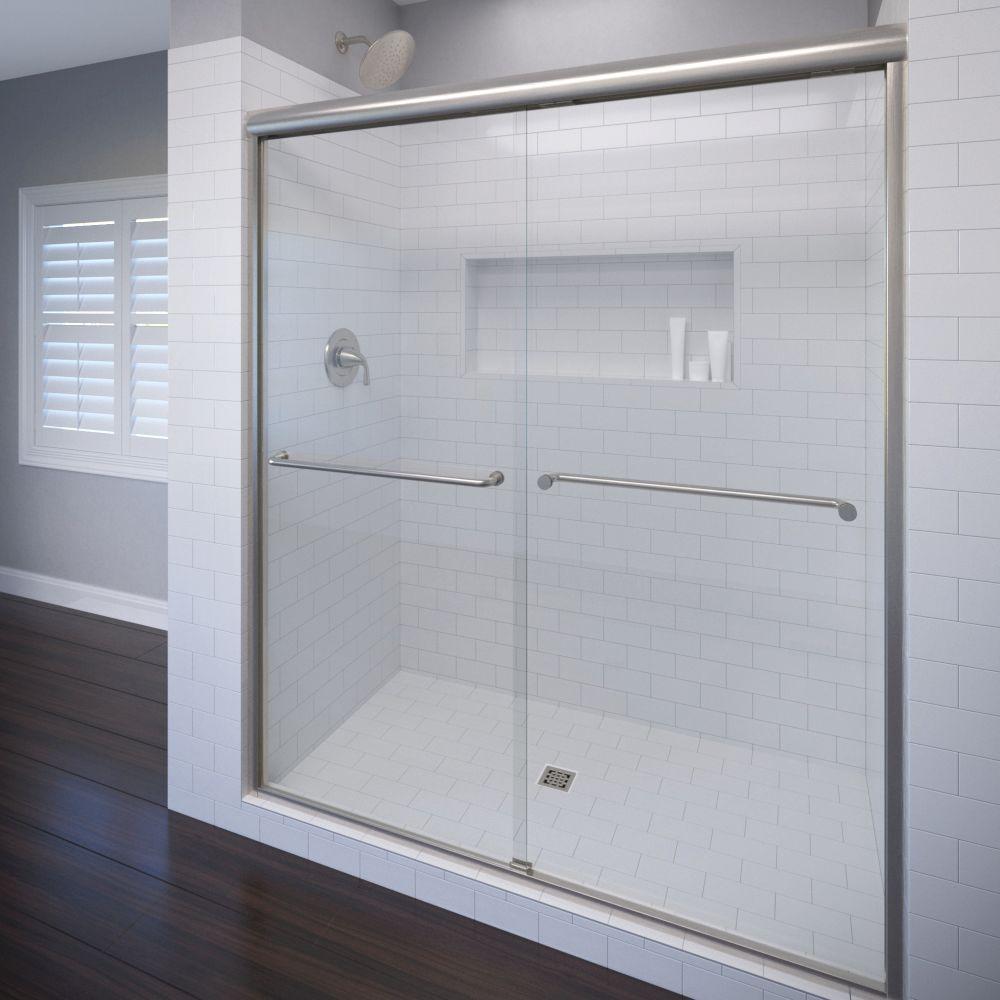 Basco Celesta 60 in. x 71-1/4 in. Semi-Frameless Sliding Shower Door in Brushed Nickel with AquaGlideXP Clear Glass