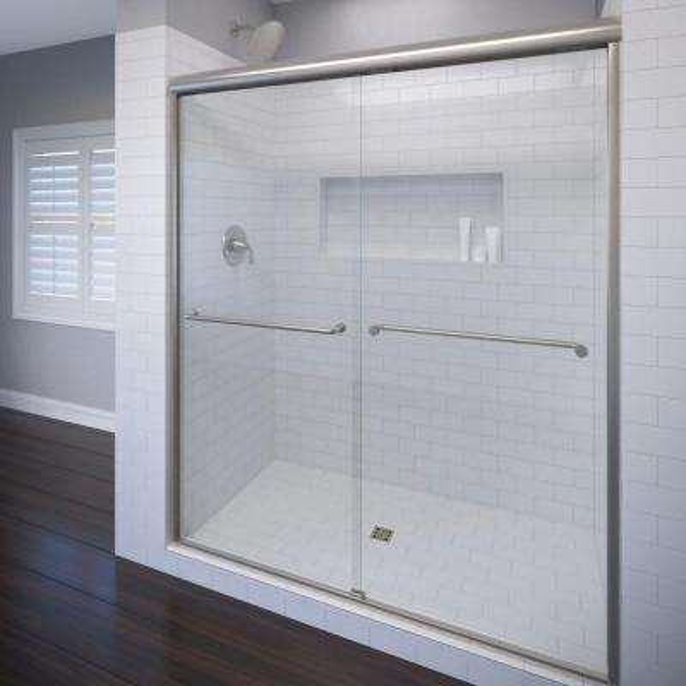 Celesta 60 in. x 71-1/4 in. Semi-Frameless Sliding Shower Door in Brushed Nickel with AquaGlideXP Clear Glass