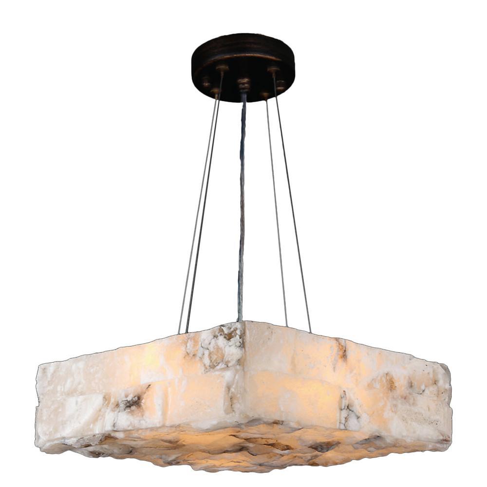 Worldwide Lighting Pompeii 4 Light Flemish Brass Natural Quartz