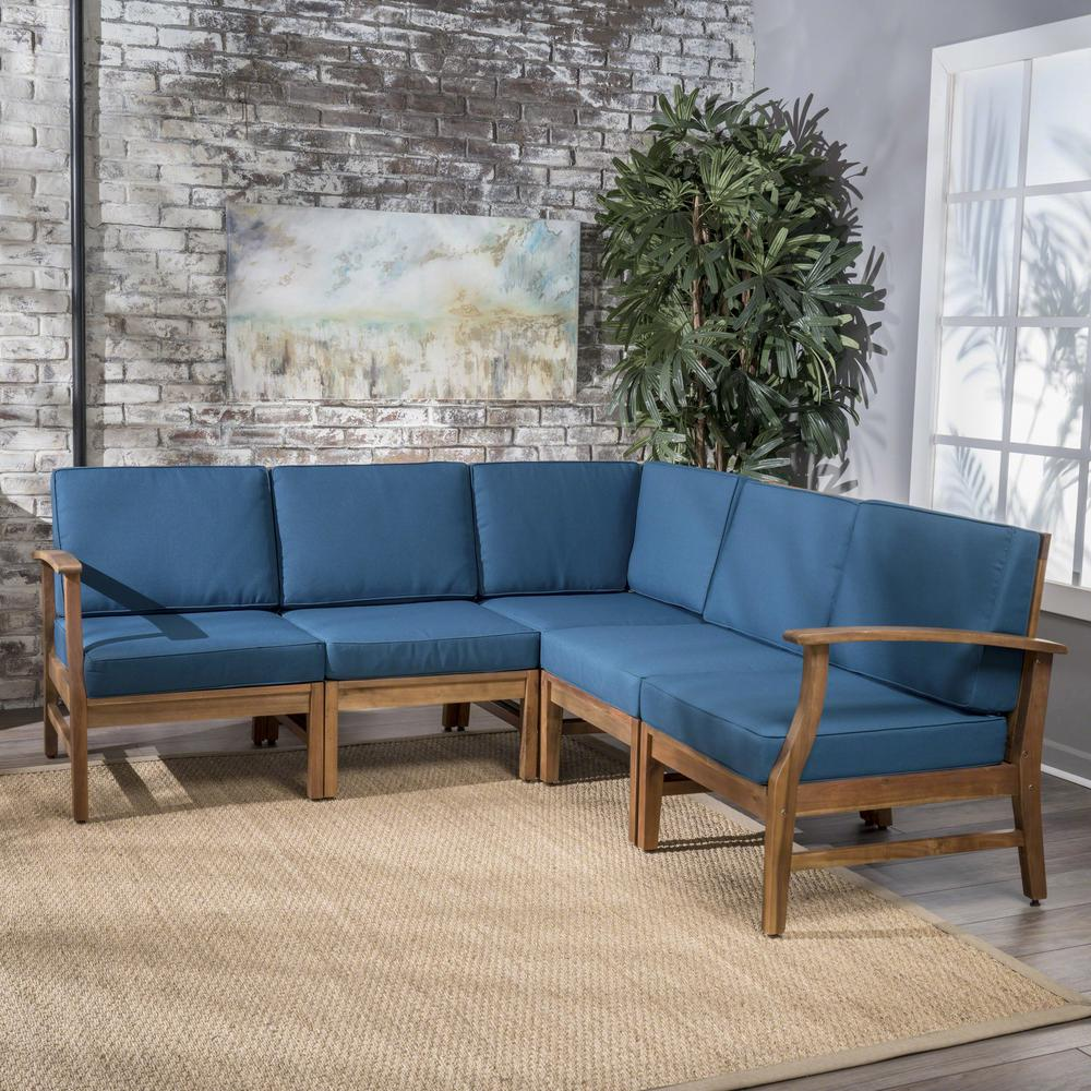 Bethany teak 5 piece wood sectional set with blue cushions