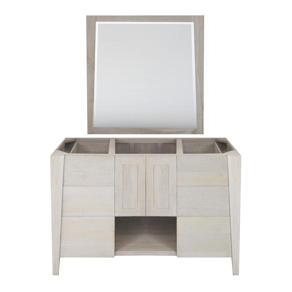 Coastal Vogue Significado 48 in. W Teak Vanity Bath Cabinet Only With Mirror in Driftwood